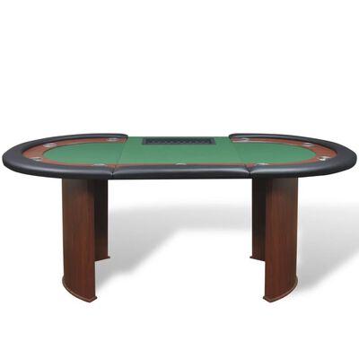 vidaXL 10-spiller pokerbord med dealer-område og chip-skuff grønn