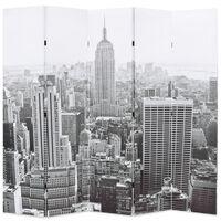 vidaXL Sammenleggbar romdeler 200x170 cm New York dagtid svart og hvit