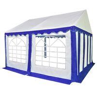 vidaXL Hagetelt PVC 3x4 m blå og hvit