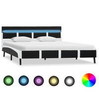 vidaXL Sengeramme svart og hvit med LED kunstig skinn 135x190 cm
