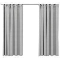 vidaXL Lystette gardiner med kroker og lin-design 2 stk grå 140x175 cm