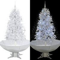 vidaXL Kunstig juletre med snø og paraplyfot hvit 170 cm