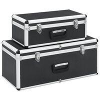 vidaXL Oppbevaringskasser 2 stk svart aluminium