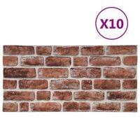 vidaXL 3D veggpaneler med mørkebrunt mursteindesign 10 stk EPS