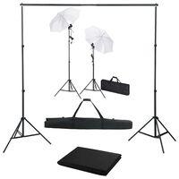 vidaXL Fotostudiosett med bakgrunn, lamper og parasoller