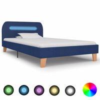 vidaXL Sengeramme med LED blå stoff 90x190 cm