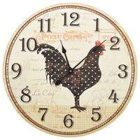 vidaXL Veggklokke med kyllingdesign flerfarget 60 cm MDF