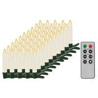 vidaXL Trådløse LED-stearinlys med fjernkontroll 50 stk varmhvit