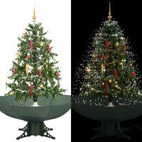 vidaXL Kunstig juletre med snø og paraplybase grønn 140 cm