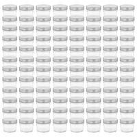 vidaXL Syltetøyglass med sølve lokk 96 stk 110 ml