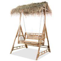 vidaXL Huskebenk med palmeblader 2 seter bambus 202 cm