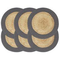 vidaXL Bordmatter 6 stk naturell og antrasitt 38 cm rund jute og bomull