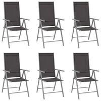 vidaXL Foldbare hagestoler 6 stk textilene svart