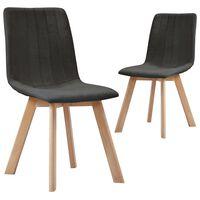 vidaXL Spisestoler 2 stk mørkegrå stoff