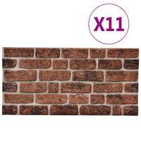 vidaXL 3D veggpaneler med mørkebrunt mursteindesign 11 stk EPS