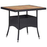 vidaXL Utendørs spisebord svart polyrotting og heltre akasie 150x74 cm