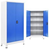 vidaXL Kontorskap metall 90x40x180 cm grå og blå
