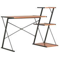 vidaXL Skrivebord med hylle svart og brun 116x50x93 cm