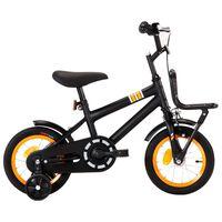 vidaXL Barnesykkel med bagasjebrett foran 12 tommer svart og oransje