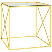 vidaXL Salongbord gull 55x55x55 cm rustfritt stål og glass