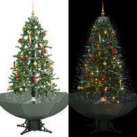 vidaXL Kunstig juletre med snø og paraplybase grønn 170 cm