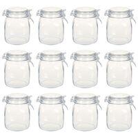 vidaXL Glasskrukker med lokk 12 stk 1 L