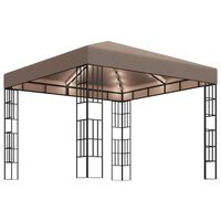 vidaXL Paviljong med LED-lysslynge 3x3 m gråbrun