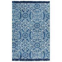 vidaXL Gulvsteppe kilim-vevet bomull med mønster 120x180 cm blå
