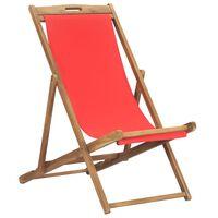 vidaXL Sammenleggbar strandstol heltre teak rød