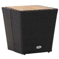 vidaXL Tebord svart 41,5x41,5x43 cm polyrotting og heltre akasie