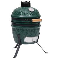 vidaXL Kullgrill med røyker Kamado keramisk 56 cm grønn