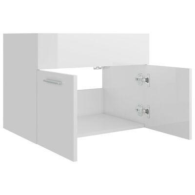 vidaXL Servantskap høyglans hvit 60x38,5x46 cm sponplate