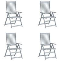 vidaXL Hagelenestoler 4 stk grå heltre akasie