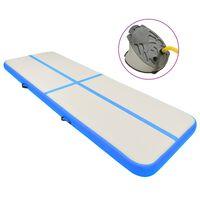 vidaXL Oppblåsbar gymnastikkmatte med pumpe 500x100x20 cm PVC blå