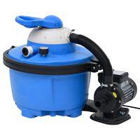 vidaXL Sandfilterpumpe blå og svart 385x620x432 mm 200 W 25 L