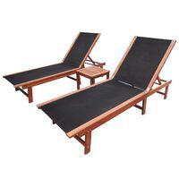 vidaXL Solsenger 2 stk med bord heltre akasie og textilene
