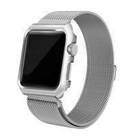 Apple Watch 1/2/3 armbånd med displayramme Milanese loop 42 mm - Sølv