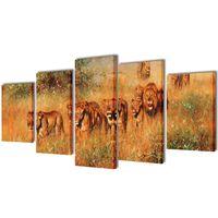 Kanvas Flerdelt Veggdekorasjon Løver 200 x 100 cm