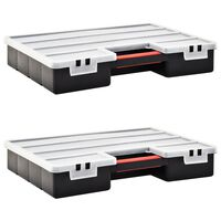 vidaXL Sorteringsbokser 2 stk justerbare avdelere 460x325x80 mm plast