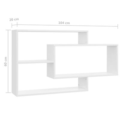 vidaXL Vegghyller høyglans hvit 104x20x58,5 cm sponplate