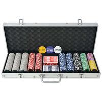 vidaXL Pokersett med 500 laser-sjetonger aluminium
