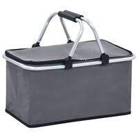 vidaXL Sammenleggbar kjølebag grå 46x27x23 cm aluminium