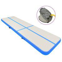 vidaXL Oppblåsbar gymnastikkmatte med pumpe 700x100x15 cm PVC blå