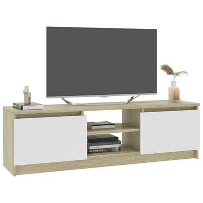 vidaXL TV-benk hvit og sonoma eik 120x30x35,5 cm sponplate
