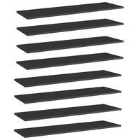 vidaXL Hylleplater 8 stk høyglans svart 100x30x1,5 cm sponplate