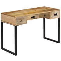 vidaXL Skrivebord heltre mango og ekte lær 117x50x76 cm