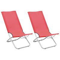 vidaXL Sammenleggbare strandstoler 2 stk rød stoff