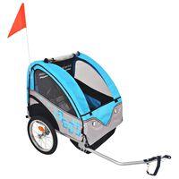 vidaXL Sykkelvogn for barn grå og blå 30 kg