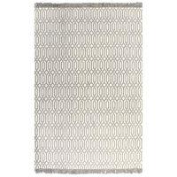 vidaXL Gulvsteppe kilim-vevet bomull med mønster 160x230 cm gråbrun