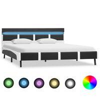 vidaXL Sengeramme med LED grå og hvit kunstig skinn 120x190 cm